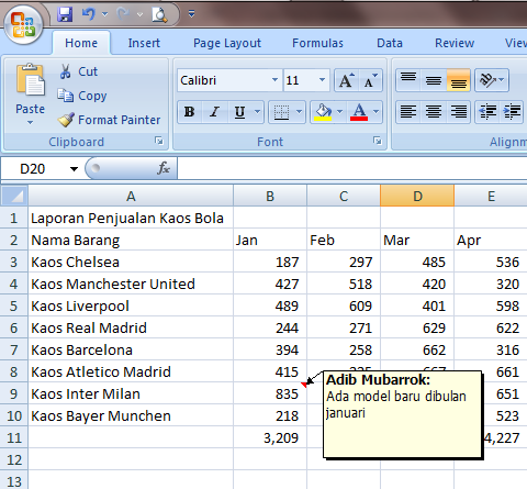 Excel 2007 Cell Comment