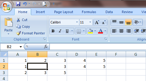 Excel 2007 Cell Insert