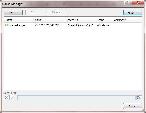Excel 2007 Range Name