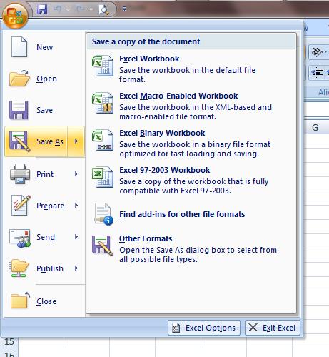Excel 2007 Workbook Save As