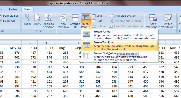 Excel 2007 Worksheet Freeze