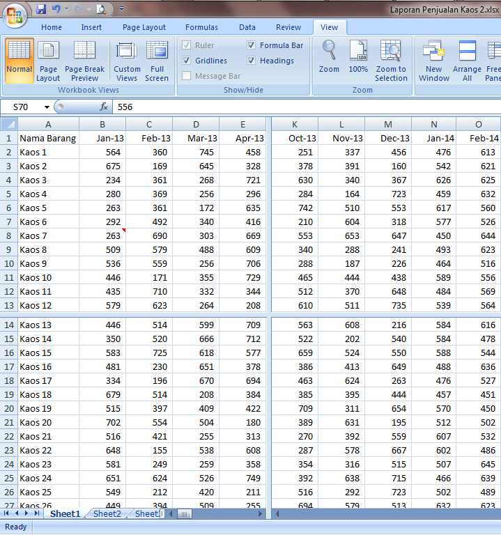 Excel 2007 Worksheet Split