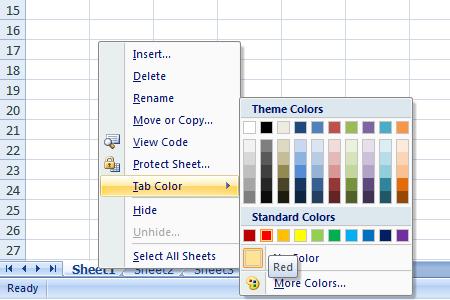 Excel 2007 Worksheet Tab Color