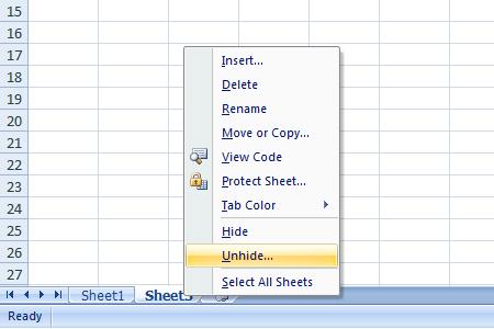 Excel 2007 Worksheet Unhide
