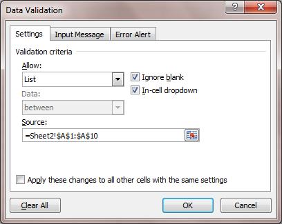 Excel 2007 Data Validation