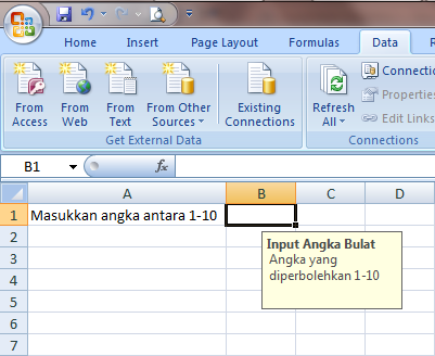 Excel 2007 Data Validation