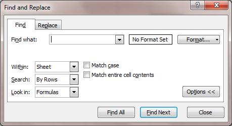 Excel 2007 Find
