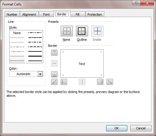 Excel 2007 Format Border