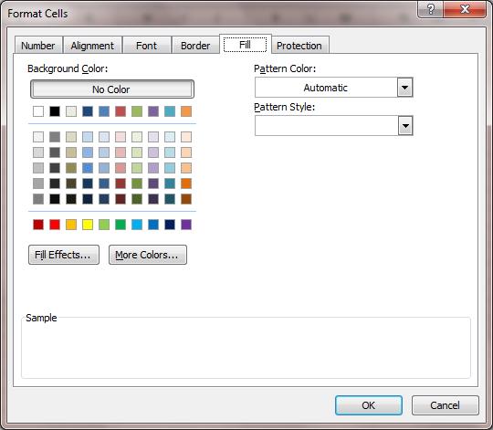 Excel 2007 Format Fill