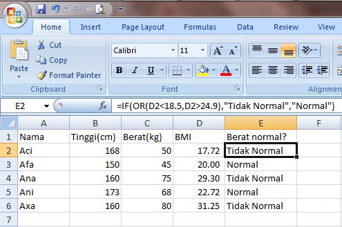 Excel 2007 Fungsi Logika
