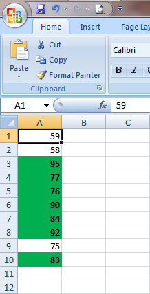 Excel 2007 Conditional Formatting