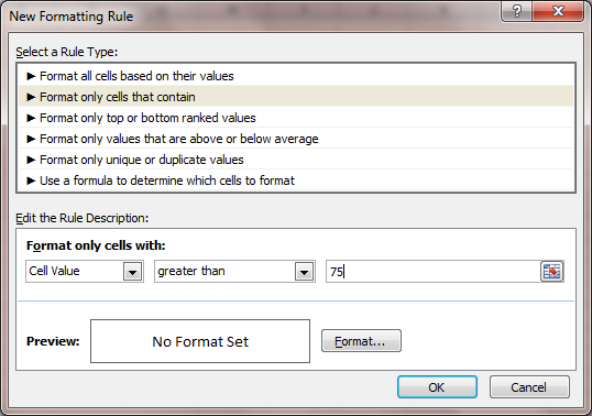 Excel 2007 Conditional Formatting