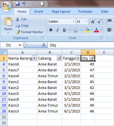 Excel 2007 Sorting