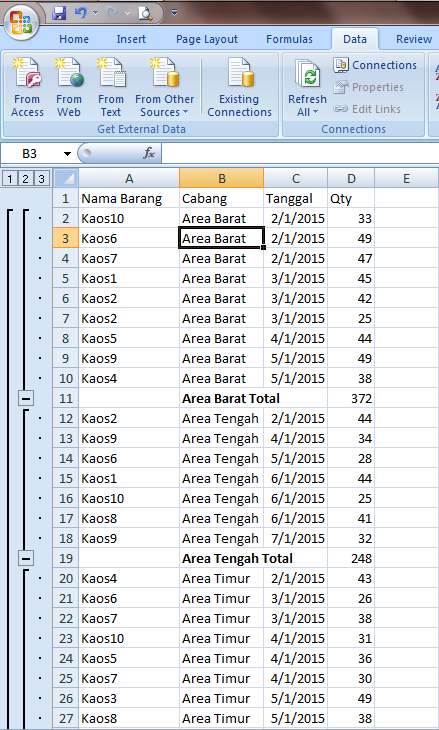 Excel 2007 Filtering