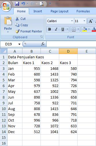 Cara Membuat Grafik di Excel 2007