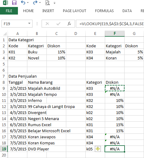Fungsi VLOOKUP dengan 2 data table_array