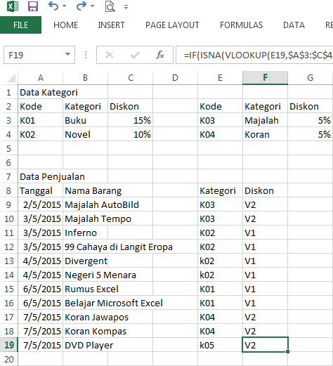 Fungsi VLOOKUP dengan 2 data table_array